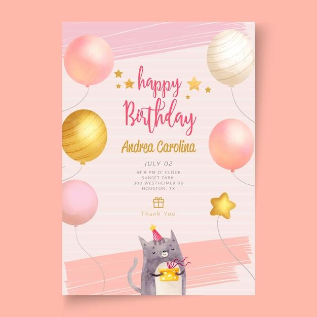 Plantilla de tarjeta de fiesta de cumpleaños vector gratuito