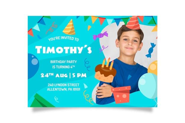 Plantilla de tarjeta de fiesta infantil con foto vector gratuito