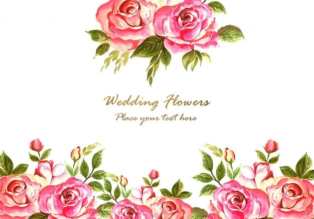 Plantilla de tarjeta de flores coloridas decorativas abstractas vector gratuito