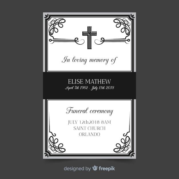 Plantilla para tarjeta fúnebre vector gratuito