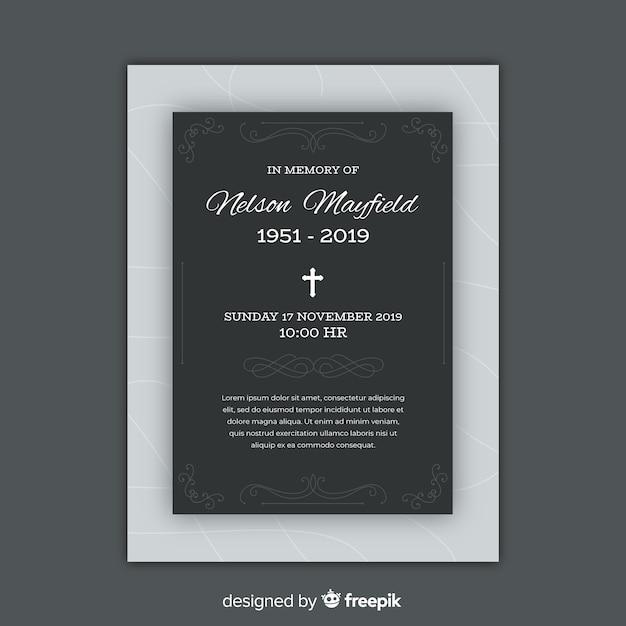 Plantilla de tarjeta fúnebre vector gratuito