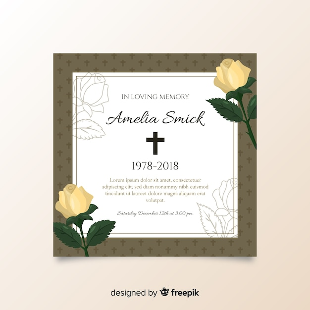 Plantilla De Tarjeta Fúnebre Vector Gratis