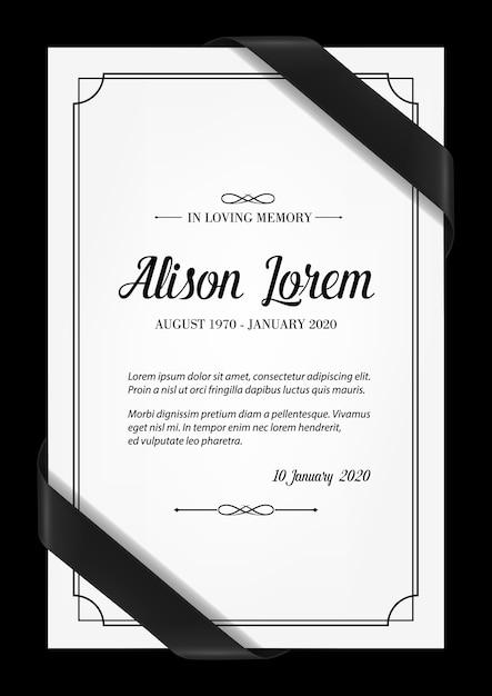 Plantilla de tarjeta de funeral con marco negro, cintas de luto en las esquinas, lugar para el nombre, fechas de nacimiento y muerte. memorial de obituario, tarjeta de pésame, en tipografía de memoria amorosa Vector Premium