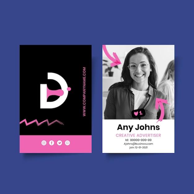 Plantilla de tarjeta de identificación comercial de marketing con foto vector gratuito
