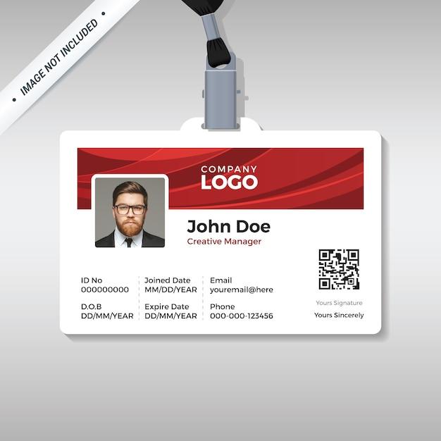 Plantilla de tarjeta de identificación corporativa con fondo de curva roja Vector Premium
