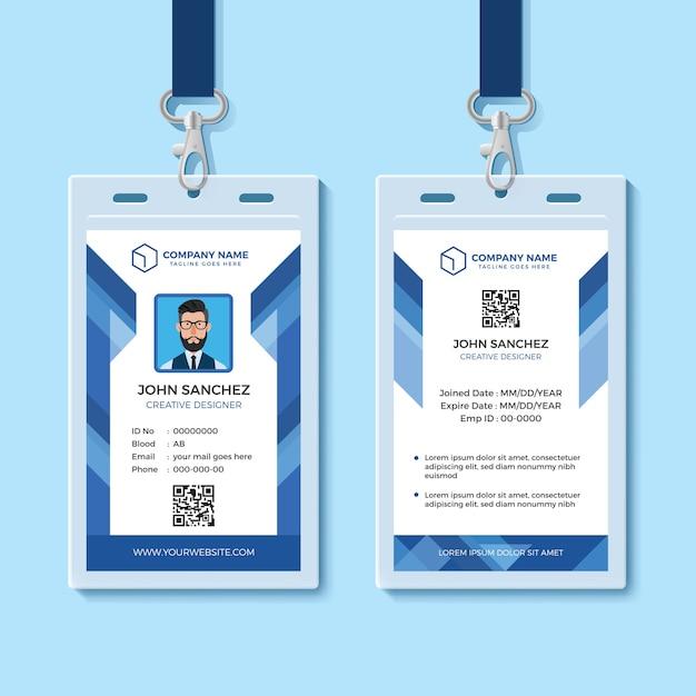 Plantilla de tarjeta de identificación de empleado azul Vector Premium