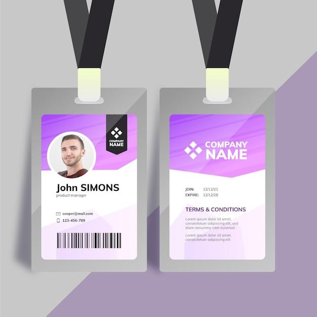 Plantilla de tarjeta de identificación de empresa púrpura con foto vector gratuito