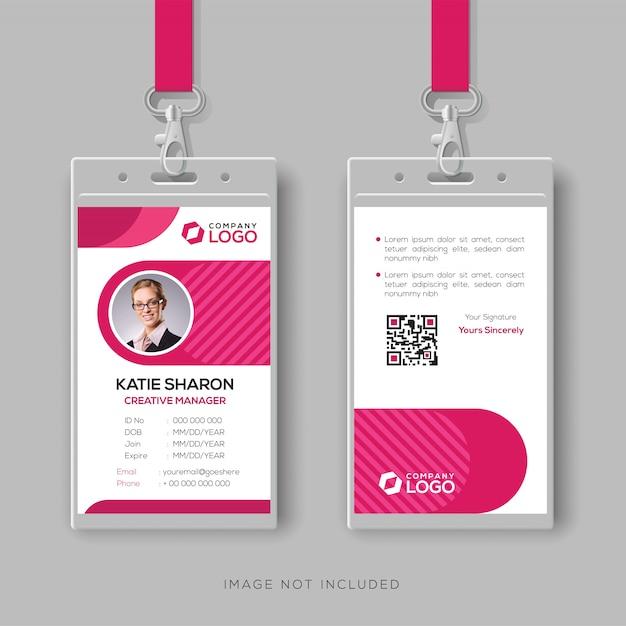 Plantilla de tarjeta de identificación con estilo con detalles de color rosa Vector Premium
