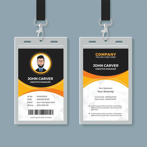 Plantilla de tarjeta de identificación de oficina negra y amarilla Vector Premium