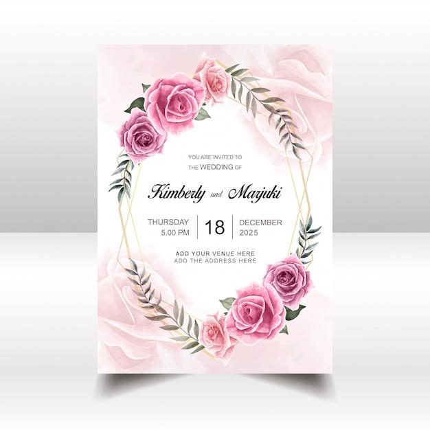 Plantilla de tarjeta de invitación de boda con acuarela floral Vector Premium