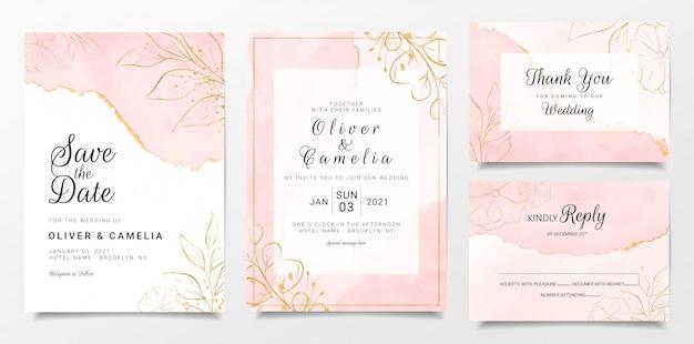 Plantilla de tarjeta de invitación de boda de acuarela de oro rosa con decoración floral dorada Vector Premium