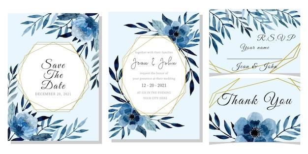 Plantilla De Tarjeta De Invitación De Boda Azul Con Acuarela