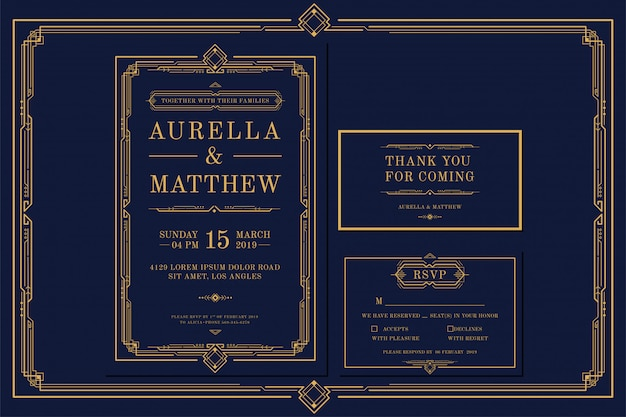 Plantilla de tarjeta de invitación de boda / compromiso art deco con color dorado con marco. estilo vintage clásico azul marino clásico. incluya etiquetas de agradecimiento y rsvp Vector Premium