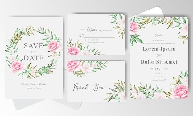 Plantilla de tarjeta de invitación de boda con corona floral acuarela verde Vector Premium