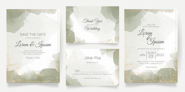 Plantilla de tarjeta de invitación de boda con decoración floral dorada Vector Premium
