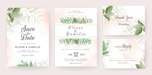 Plantilla de tarjeta de invitación de boda con decoración de hojas doradas Vector Premium