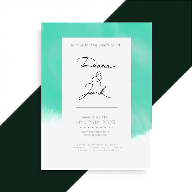 Plantilla de tarjeta de invitación de boda elegante acuarela vector gratuito
