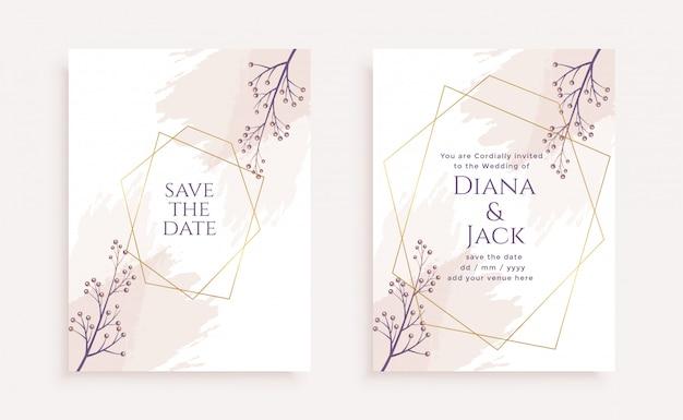 Plantilla de tarjeta de invitación de boda elegante flor vector gratuito