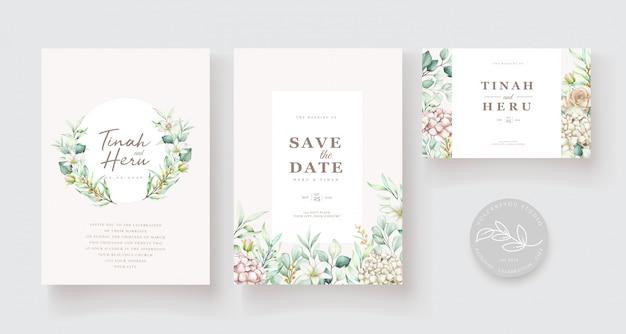 Plantilla de tarjeta de invitación de boda floral acuarela dibujada a mano vector gratuito