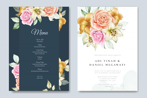 Plantilla de tarjeta de invitación de boda floral acuarela Vector Premium