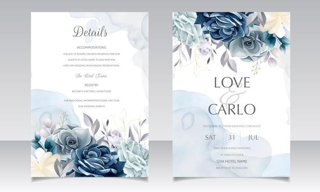 Plantilla de tarjeta de invitación de boda floral azul marino con hojas doradas y acuarela Vector Premium