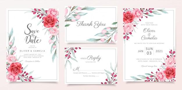 Plantilla de tarjeta de invitación de boda floral con decoración de borde de flores acuarela Vector Premium