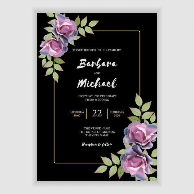 Plantilla de tarjeta de invitación de boda floral elegante Vector Premium