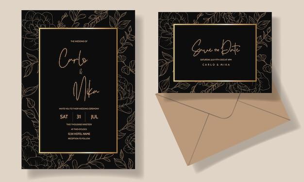 Plantilla de tarjeta de invitación de boda floral hermosa y elegante vector gratuito