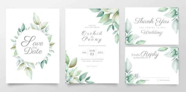 Plantilla de tarjeta de invitación de boda floral con hojas de acuarela realistas Vector Premium