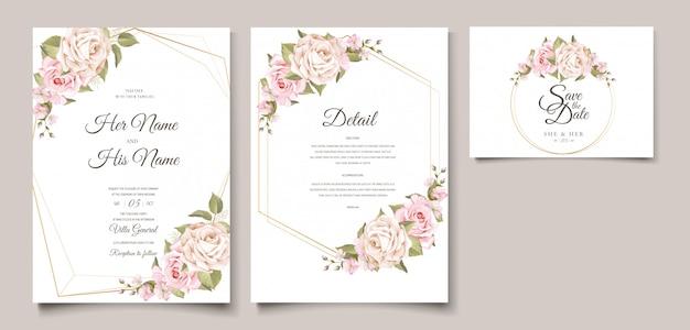 Plantilla de tarjeta de invitación de boda floral suave elegante vector gratuito