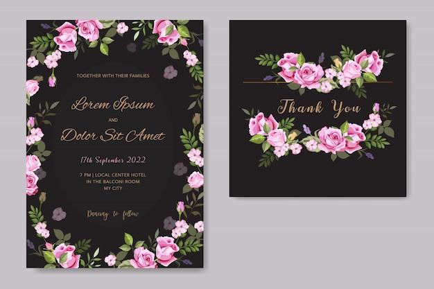 Plantilla de tarjeta de invitación de boda floral de vector Vector Premium