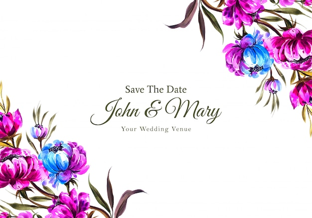 Plantilla de tarjeta de invitación de boda floral vector gratuito