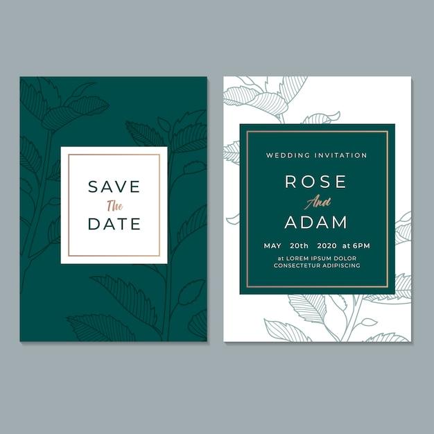 Plantilla de tarjeta de invitación de boda floral Vector Premium