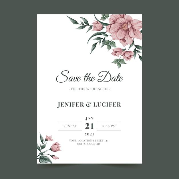 Plantilla de tarjeta de invitación de boda con flores vector gratuito