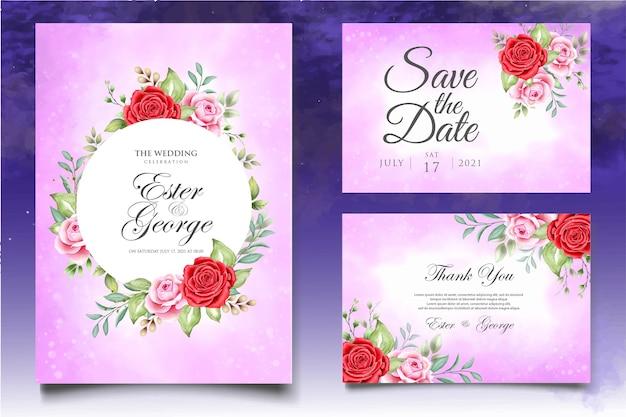 Plantilla de tarjeta de invitación de boda hermosa acuarela floral Vector Premium