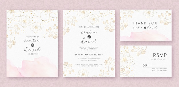 Plantilla de tarjeta de invitación de boda hermosa con acuarela splash y flor Vector Premium