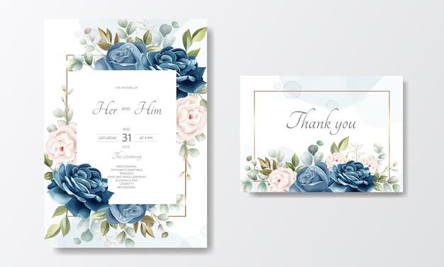 Plantilla de tarjeta de invitación de boda hermosa corona floral Vector Premium