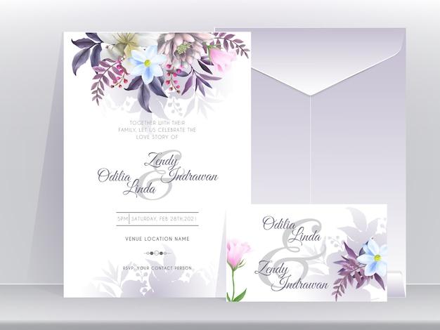 Plantilla de tarjeta de invitación de boda con hermosa y elegante edición floral púrpura Vector Premium
