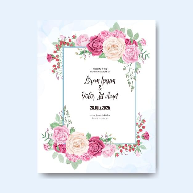 Plantilla de tarjeta de invitación de boda hermosa con flores y hojas Vector Premium