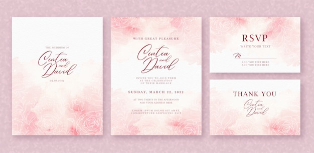 Plantilla de tarjeta de invitación de boda hermosa con fondo de acuarela y flor rosa splash Vector Premium