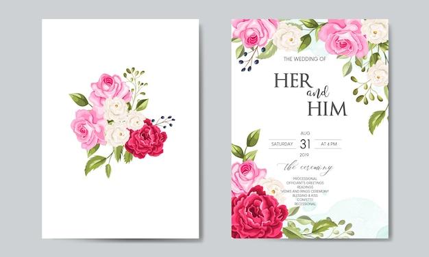 Plantilla de tarjeta de invitación de boda hermosa con hojas florales Vector Premium