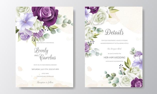 Plantilla de tarjeta de invitación de boda con hermosas hojas florales Vector Premium