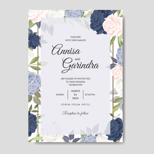 Plantilla de tarjeta de invitación de boda hermoso marco floral Vector Premium