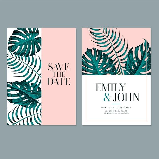 Plantilla de tarjeta de invitación de boda con hoja Vector Premium