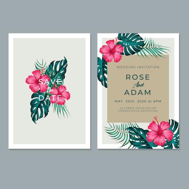 Plantilla de tarjeta de invitación de boda, con hojas y diseño floral Vector Premium
