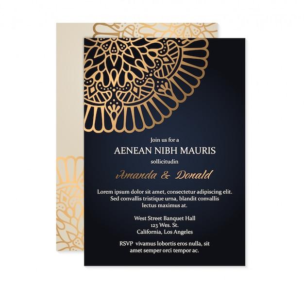 Plantilla de tarjeta de invitación de boda de lujo vector gratuito