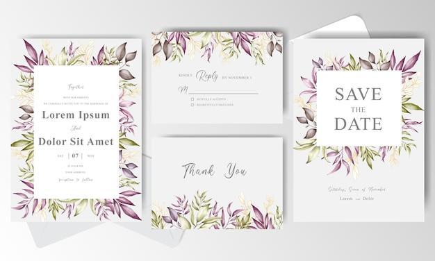 Plantilla de tarjeta de invitación de boda con marco floral de arreglo de vegetación Vector Premium