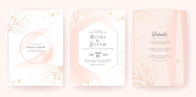 Plantilla de tarjeta de invitación de boda con marco geométrico, salpicaduras de acuarela dorada y línea floral. trazo de pincel Vector Premium