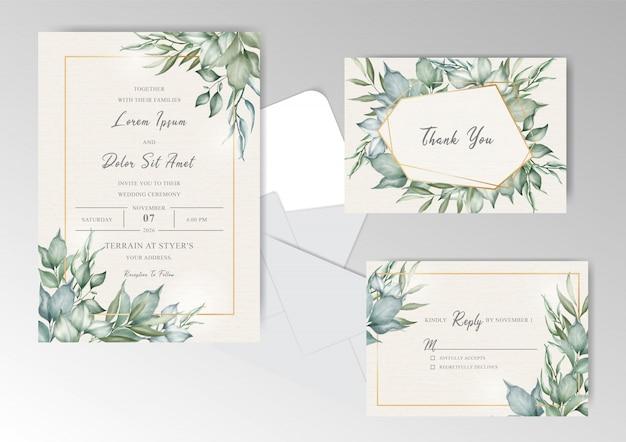 Plantilla de tarjeta de invitación de boda marco verde Vector Premium
