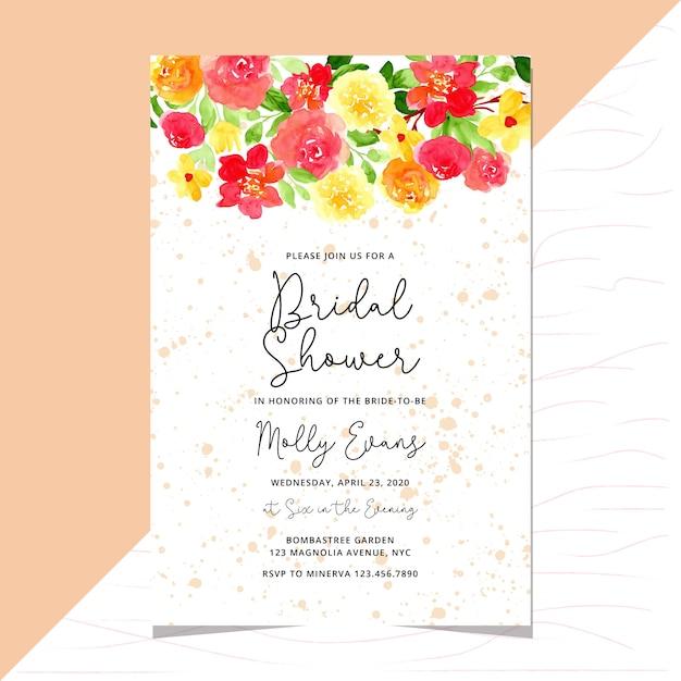 Plantilla de tarjeta de invitación de boda nupcial con acuarela frontera floral Vector Premium